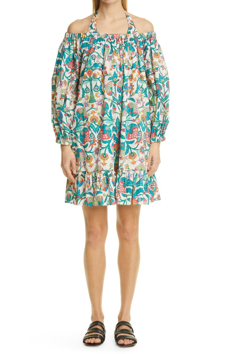 LA DOUBLEJ Paloma Off the Shoulder Cover-Up Dress, Main, color, TREE OF LIFE BIANCO