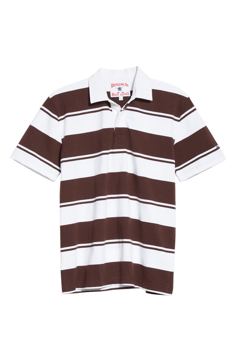 NOAH x Birdwell Stripe Rugby Polo, Main, color, WHITE/ BROWN