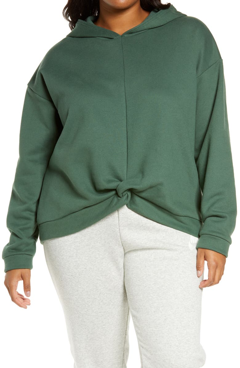ZELLA Cara Twist Front Hoodie, Main, color, GREEN TOPIARY