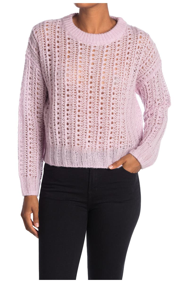 360 CASHMERE June Wool Blend Pointelle Wool & Cashmere Blend Sweater, Main, color, DUSTY LILAC