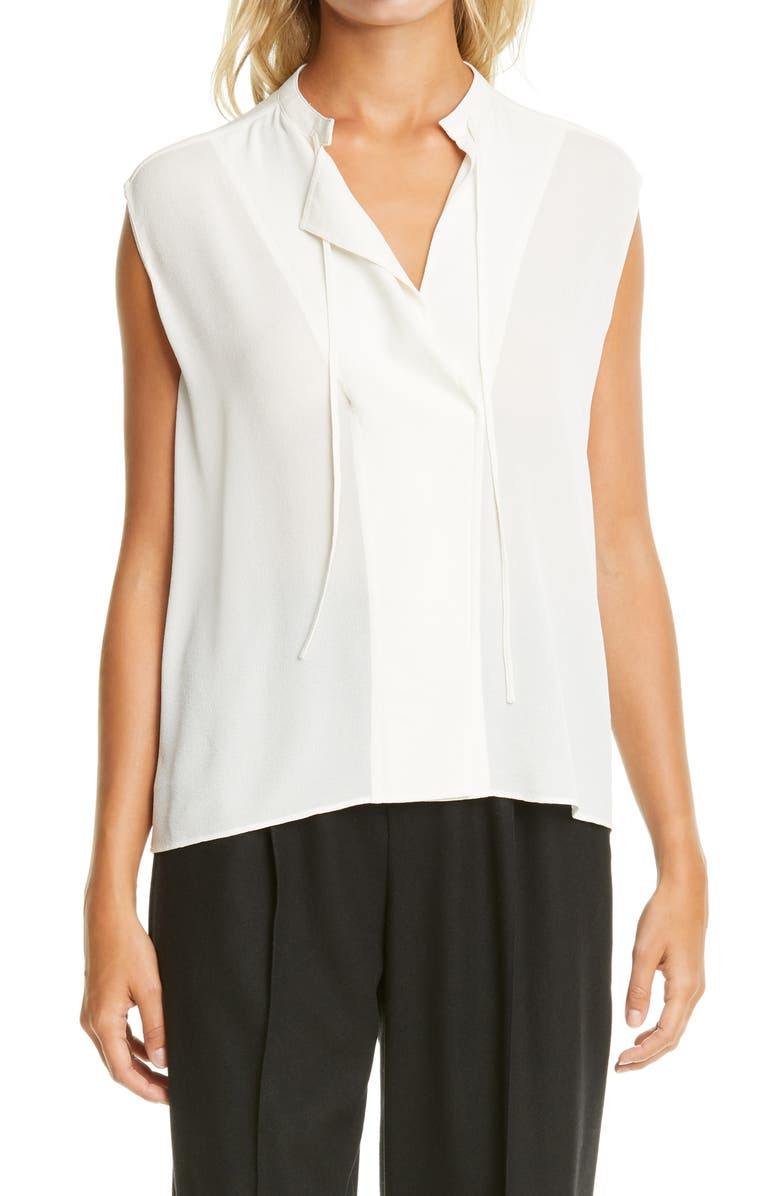 VINCE Tie Neck Sleeveless Silk Blouse, Main, color, OFF WHITE