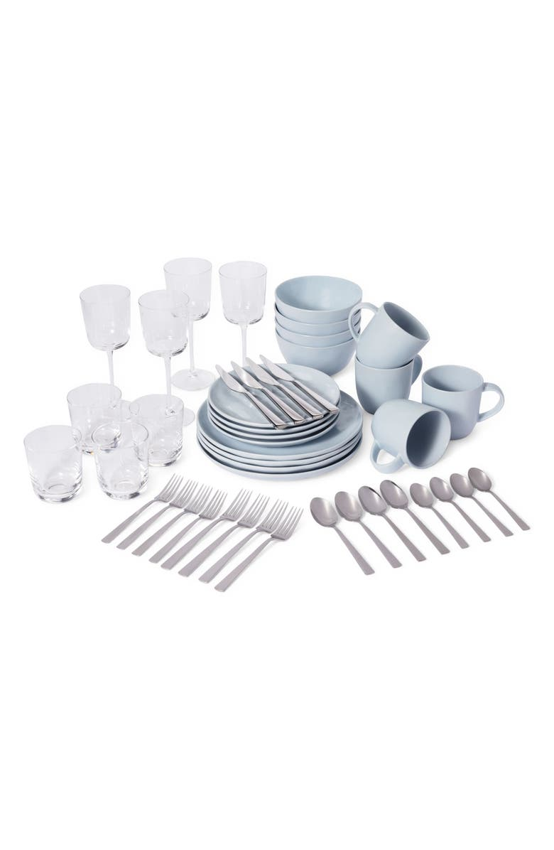 LEEWAY HOME The Full Way 44-Piece Set, Main, color, BLUE SOLIDS