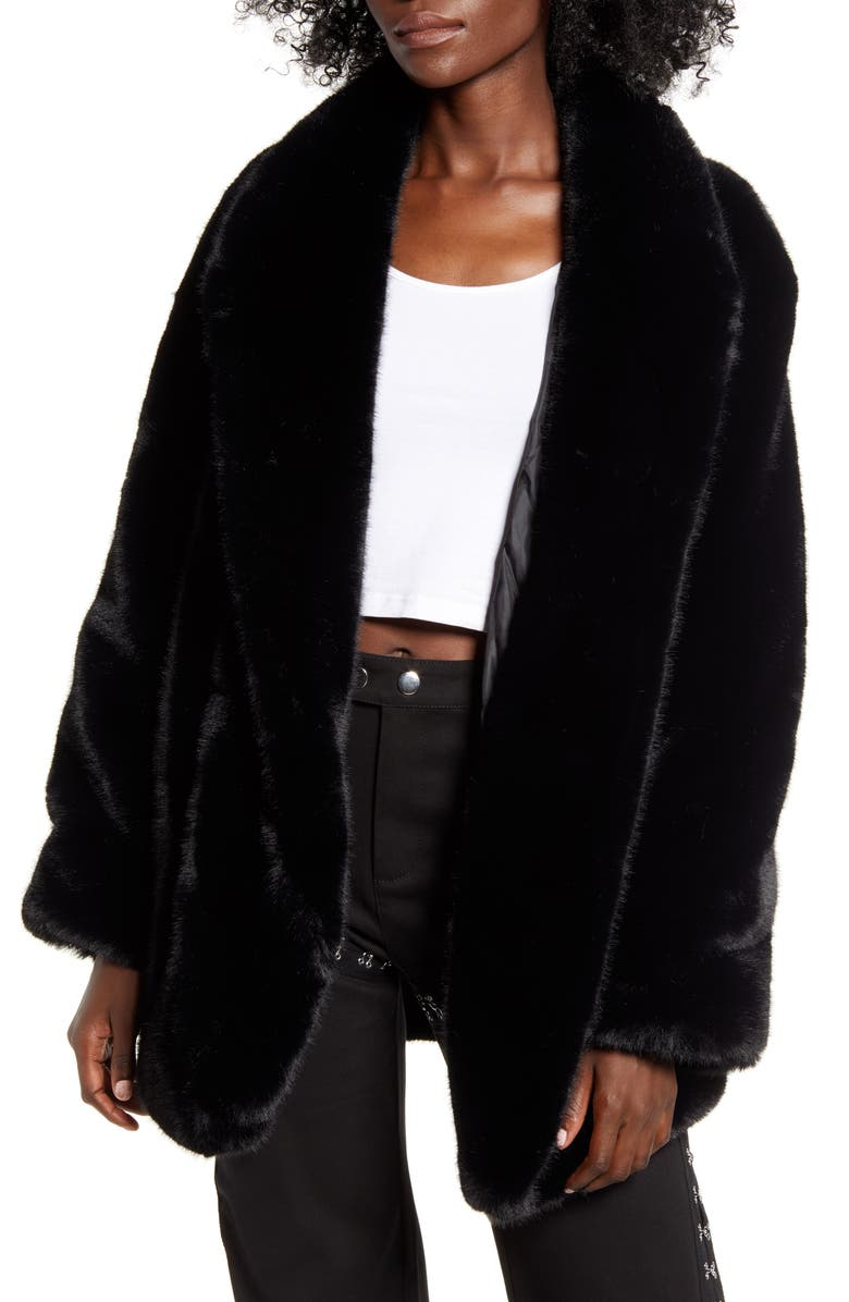 I.AM.GIA . Nya Oversize Faux Fur Jacket, Main, color, 001