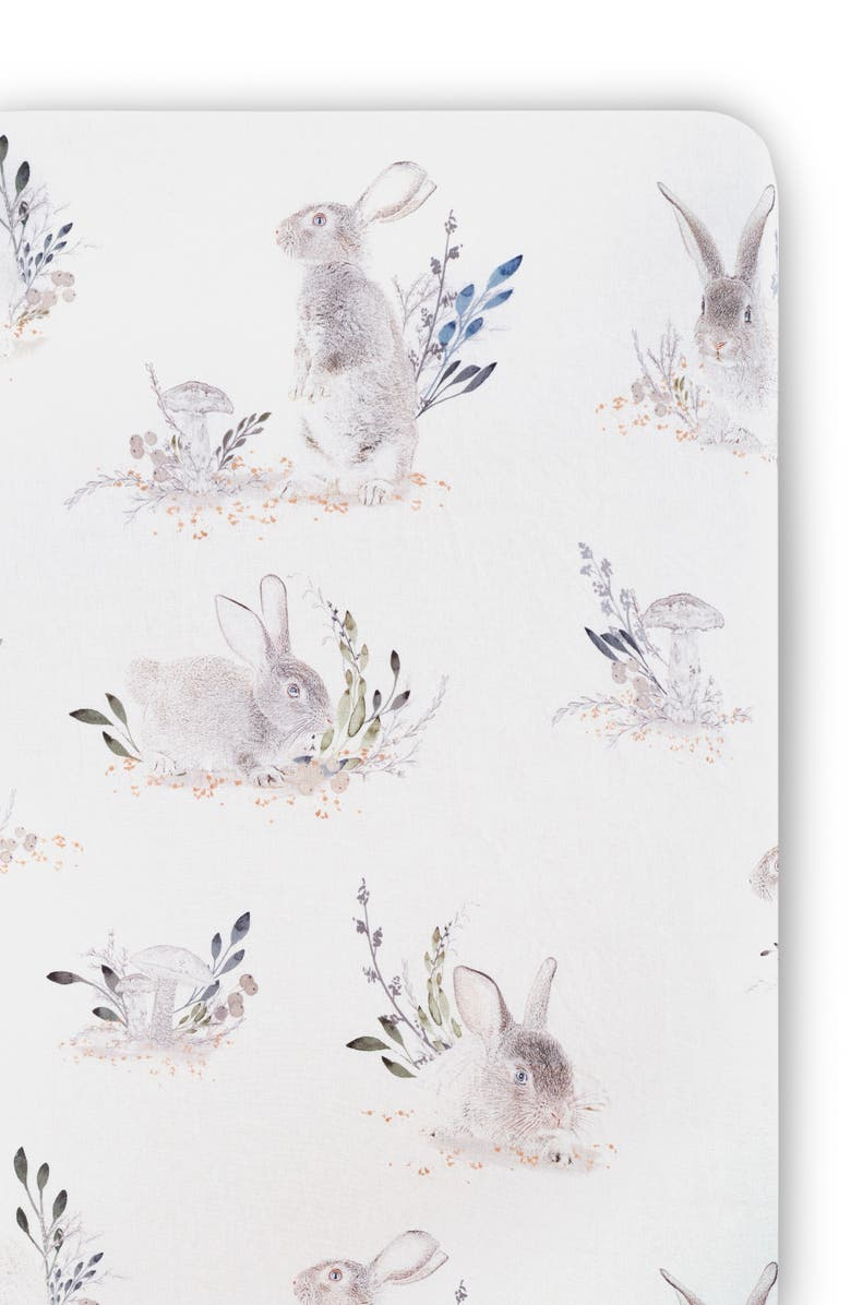OILO Cottontail Jersey Crib Sheet, Main, color, STONE