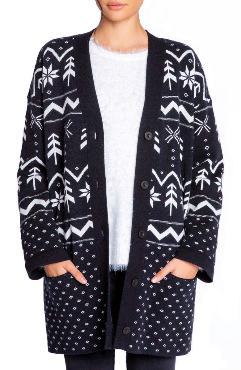 PJ SALVAGE Alpine Night Cardigan, Main, color, BLACK