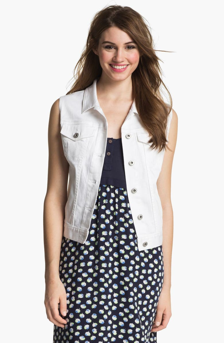 TWO BY VINCE CAMUTO White Denim Vest, Main, color, ULTRA WHITE