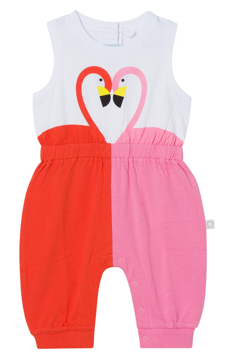 STELLA MCCARTNEY Flamingo Cotton Jersey Romper, Main, color, Pink