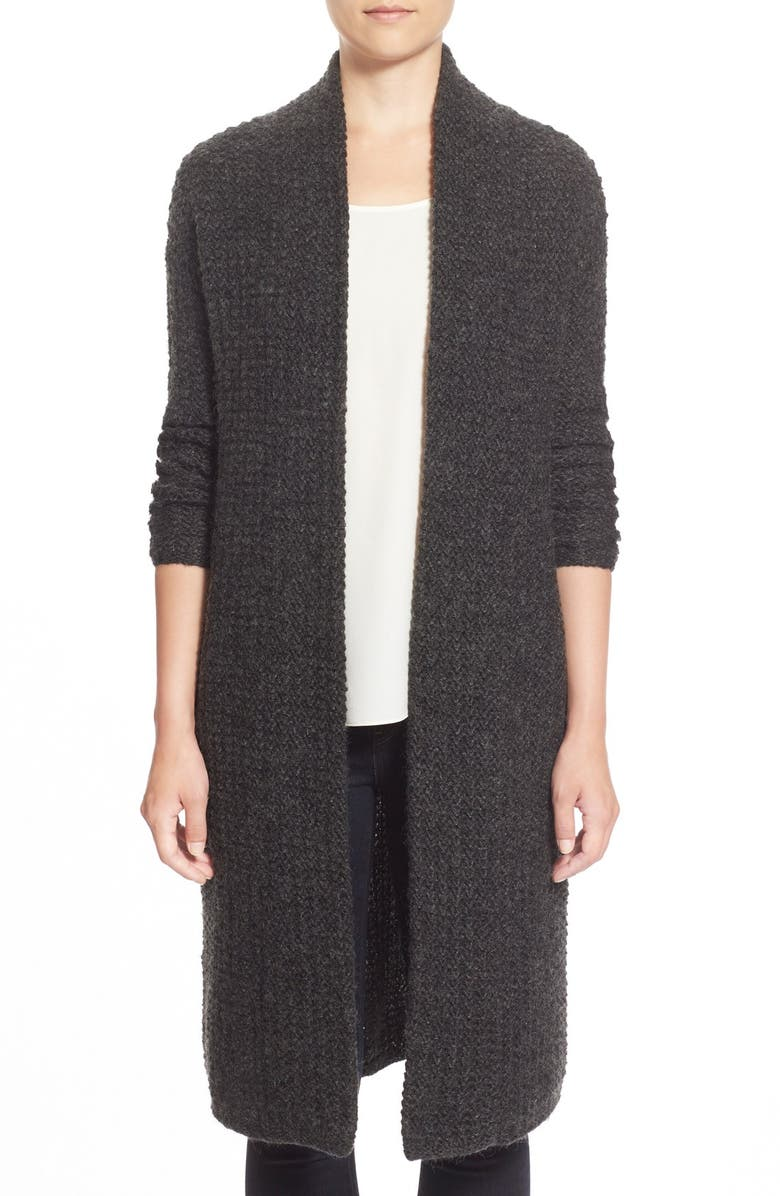 HALOGEN<SUP>®</SUP> Open Front Long Cardigan, Main, color, HEATHER CHARCOAL