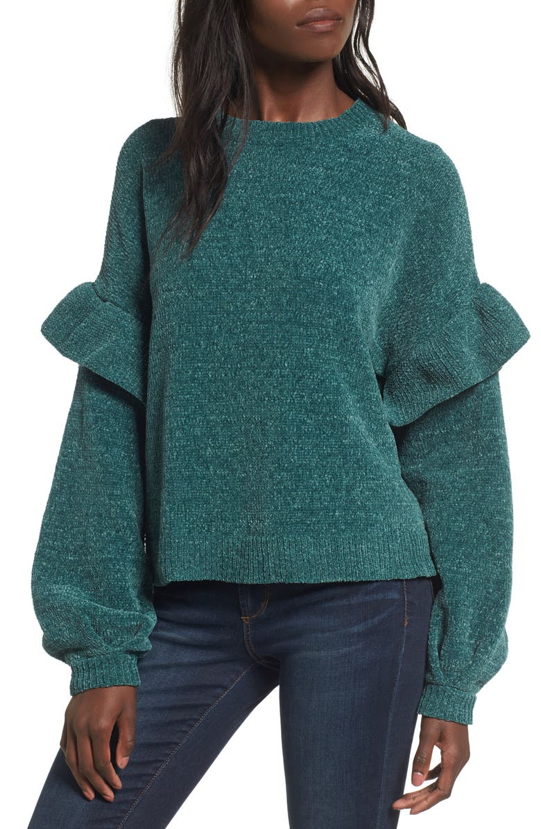 BP. Ruffle Chenille Sweater, Main, color, 301