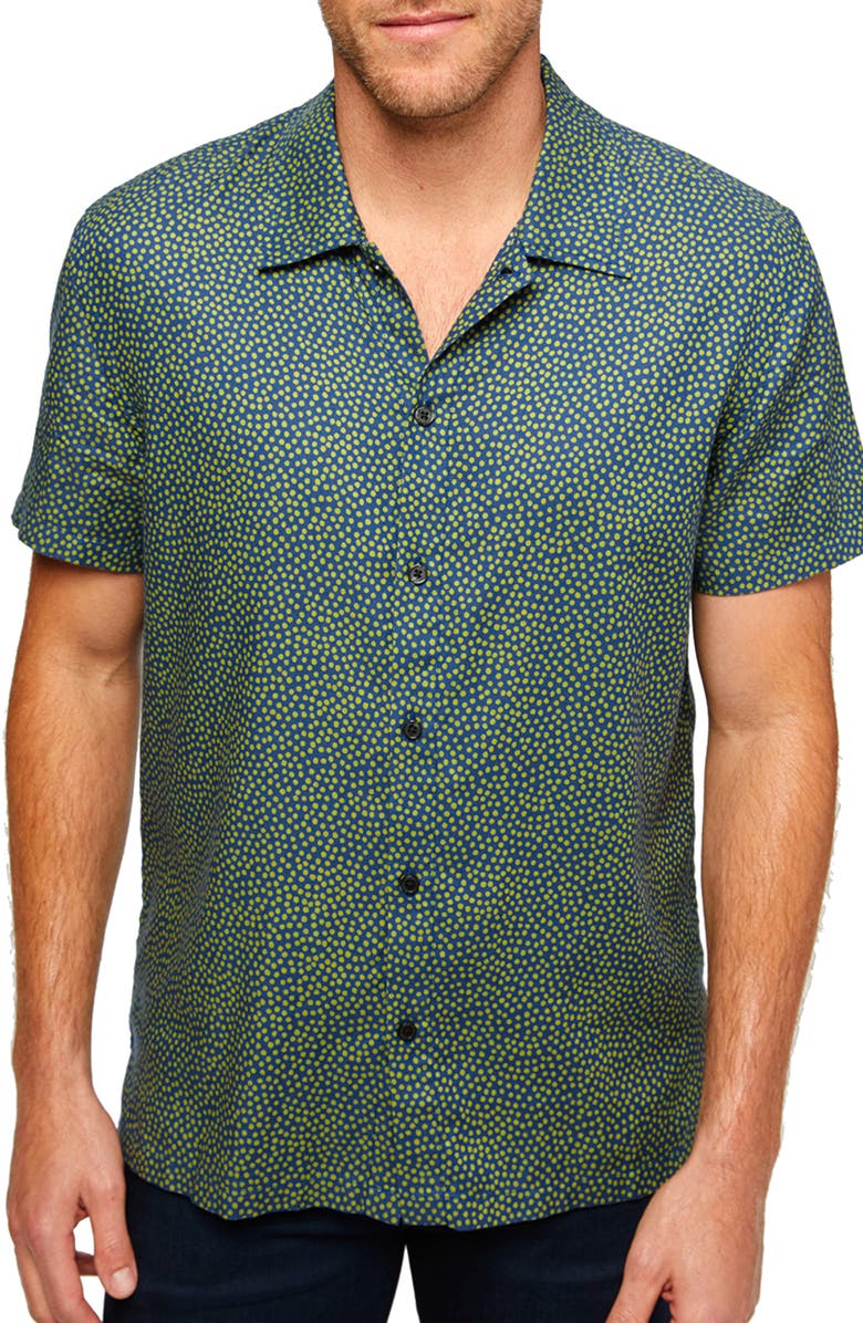 7 FOR ALL MANKIND<SUP>®</SUP> 7 For All Mankind Camp Collar Button-Up Shirt, Main, color, NAVY/ GRASS DOTS