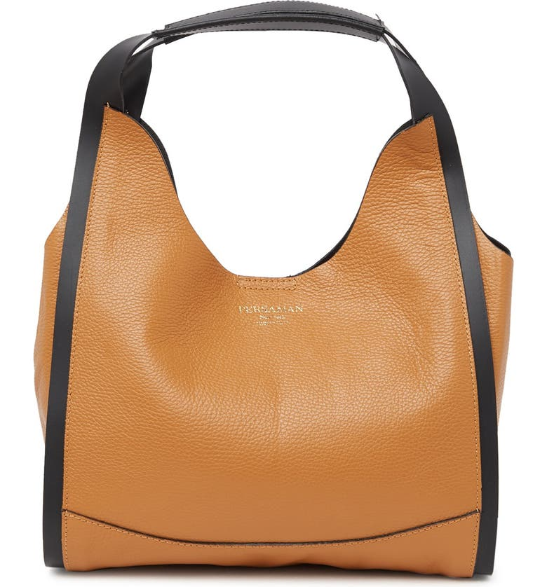PERSAMAN NEW YORK Gabrielle Leather Tote, Main, color, SADDLE