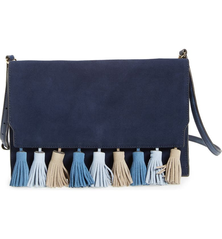 REBECCA MINKOFF 'Sofia' Tassel Trim Leather Clutch, Main, color, 428