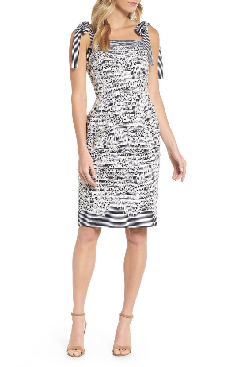 MAGGY LONDON Tie Shoulder Sheath Dress, Main, color, 031