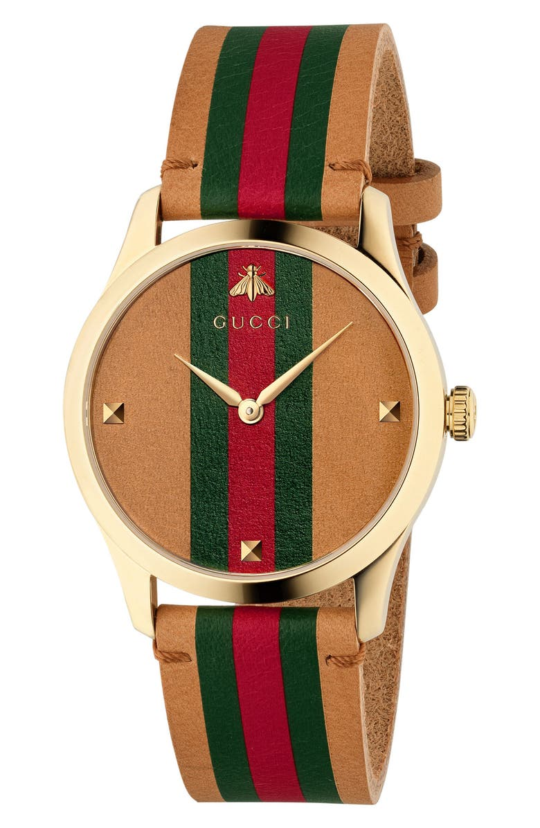 GUCCI G-Timeless Leather Strap Watch, 38mm, Main, color, BROWN/ GREEN/ GOLD