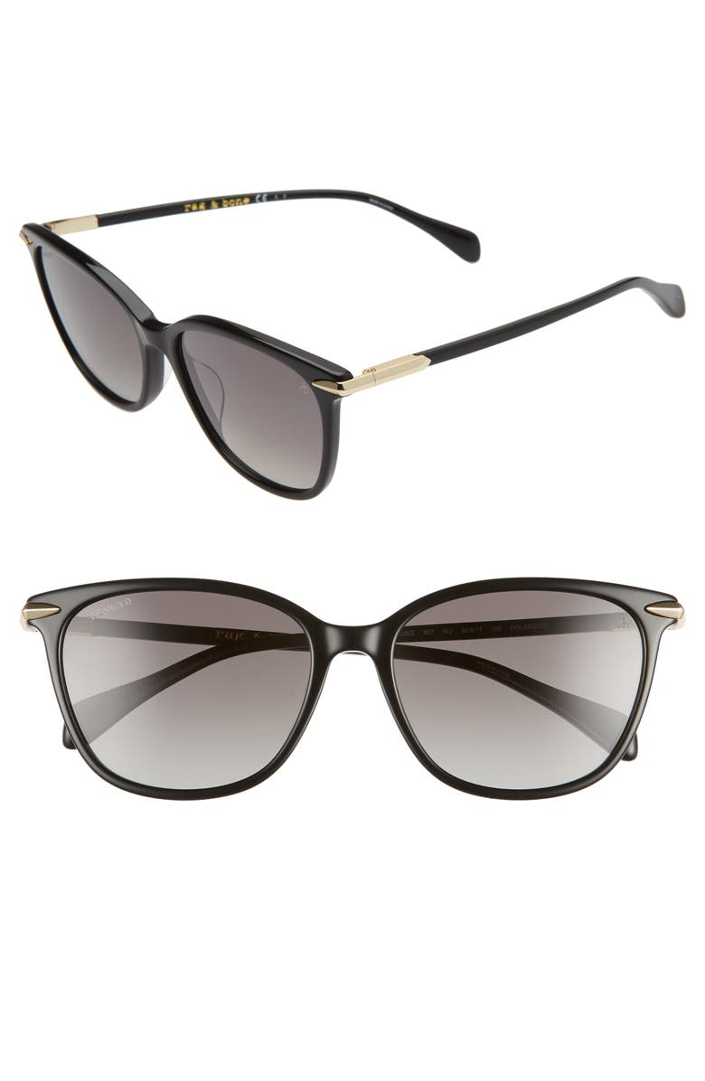 RAG & BONE 55mm Polarized Cat Eye Sunglasses, Main, color, BLACK/ DARK GREY