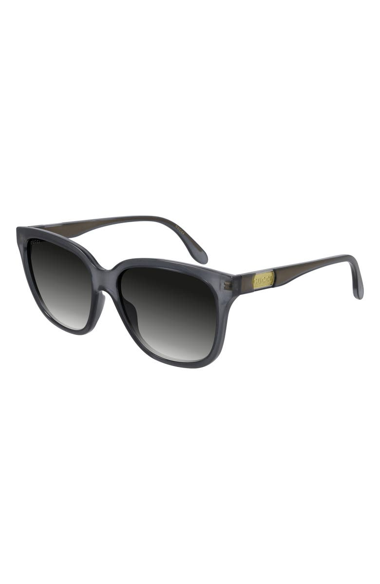 GUCCI 56mm Gradient Square Sunglasses, Main, color, OPAL DARK GREY/ GREY GRADIENT