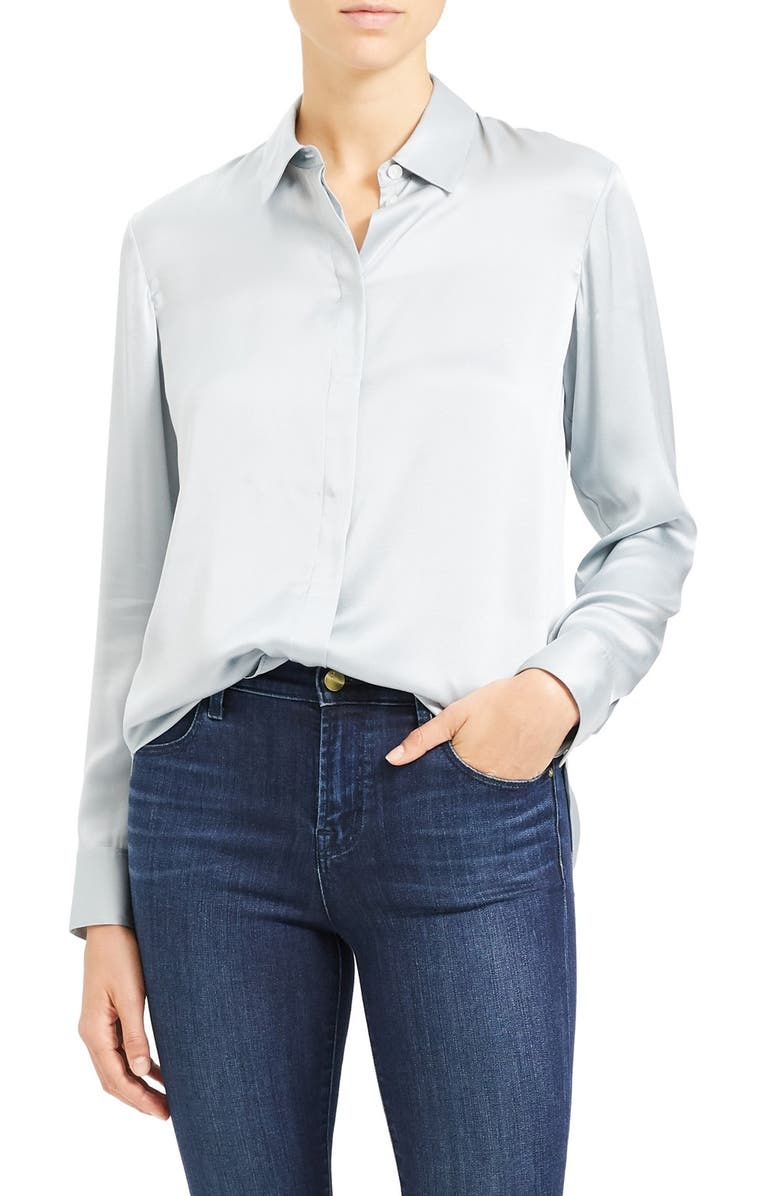 THEORY Silk Button-Up Shirt, Main, color, 484