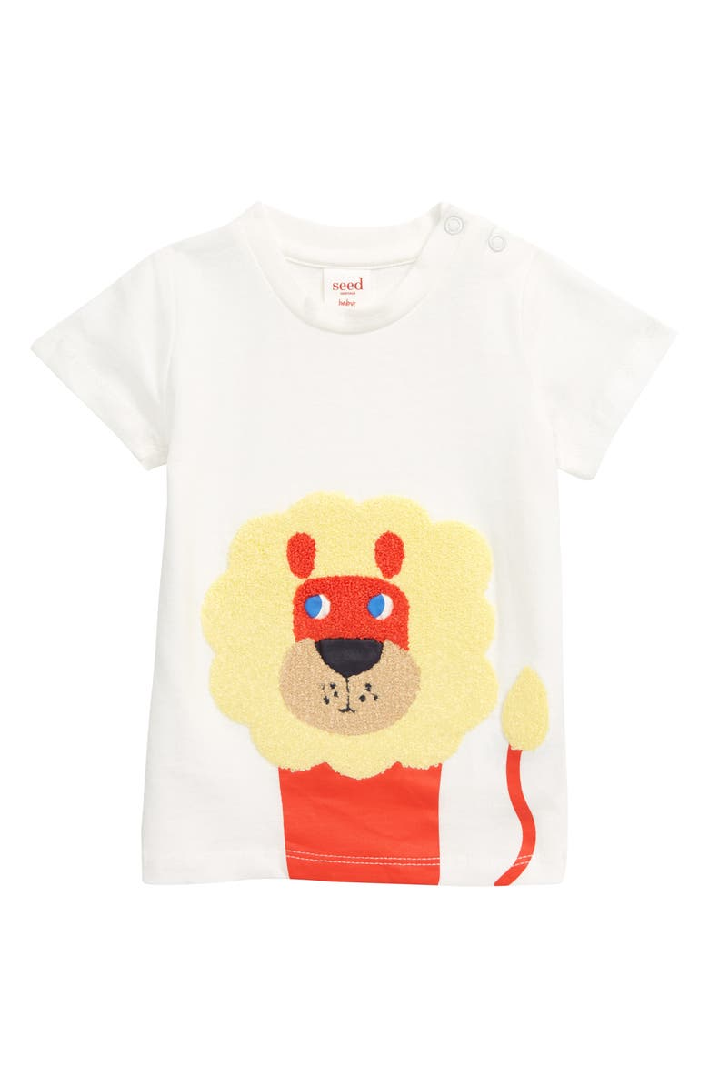 SEED HERITAGE Chenille Lion Appliqué T-Shirt, Main, color, 100