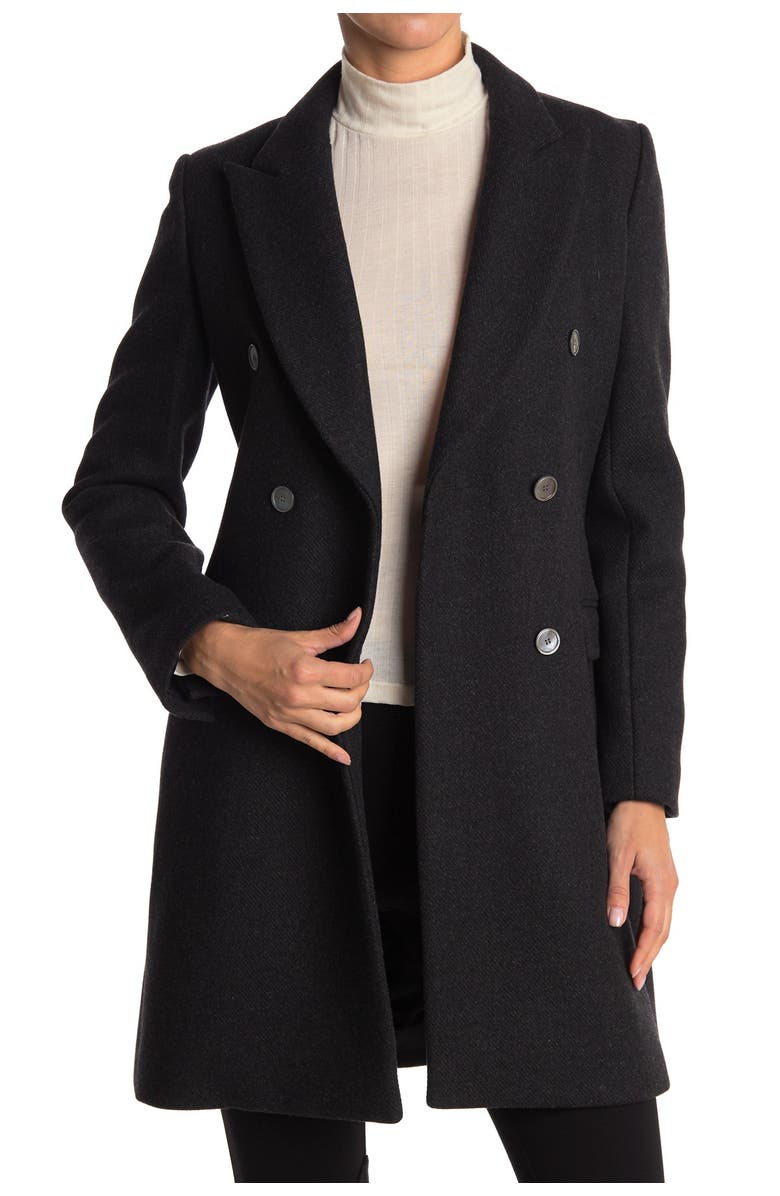 THEORY Peak Lapel Double Breasted Wool Coat, Main, color, CHARCOAL MELANGE