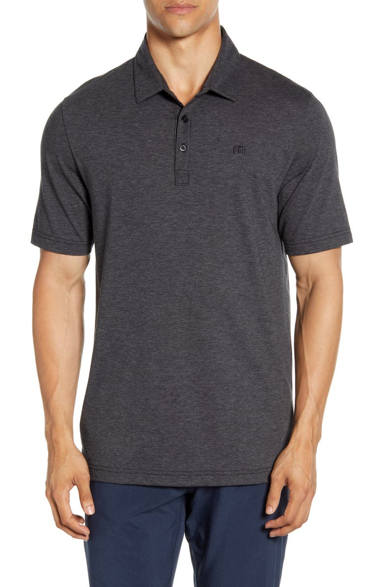 TRAVISMATHEW The Zinna Regular Fit Performance Polo, Main, color, HEATHER BLACK