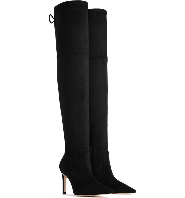 GOOD AMERICAN The Overtime Over the Knee Boot, Main, color, BLACK