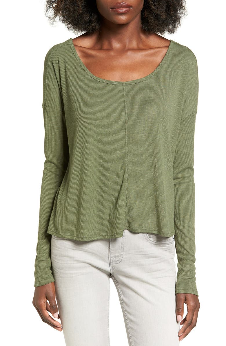CHLOE & KATIE Knotted Drape Back Tee, Main, color, OLIVE