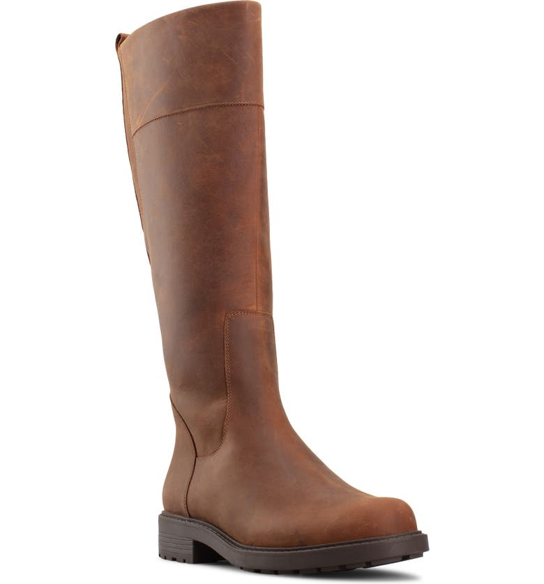 CLARKS<SUP>®</SUP> Orinoco 2 Waterproof Riding Boot, Main, color, TAN LEATHER