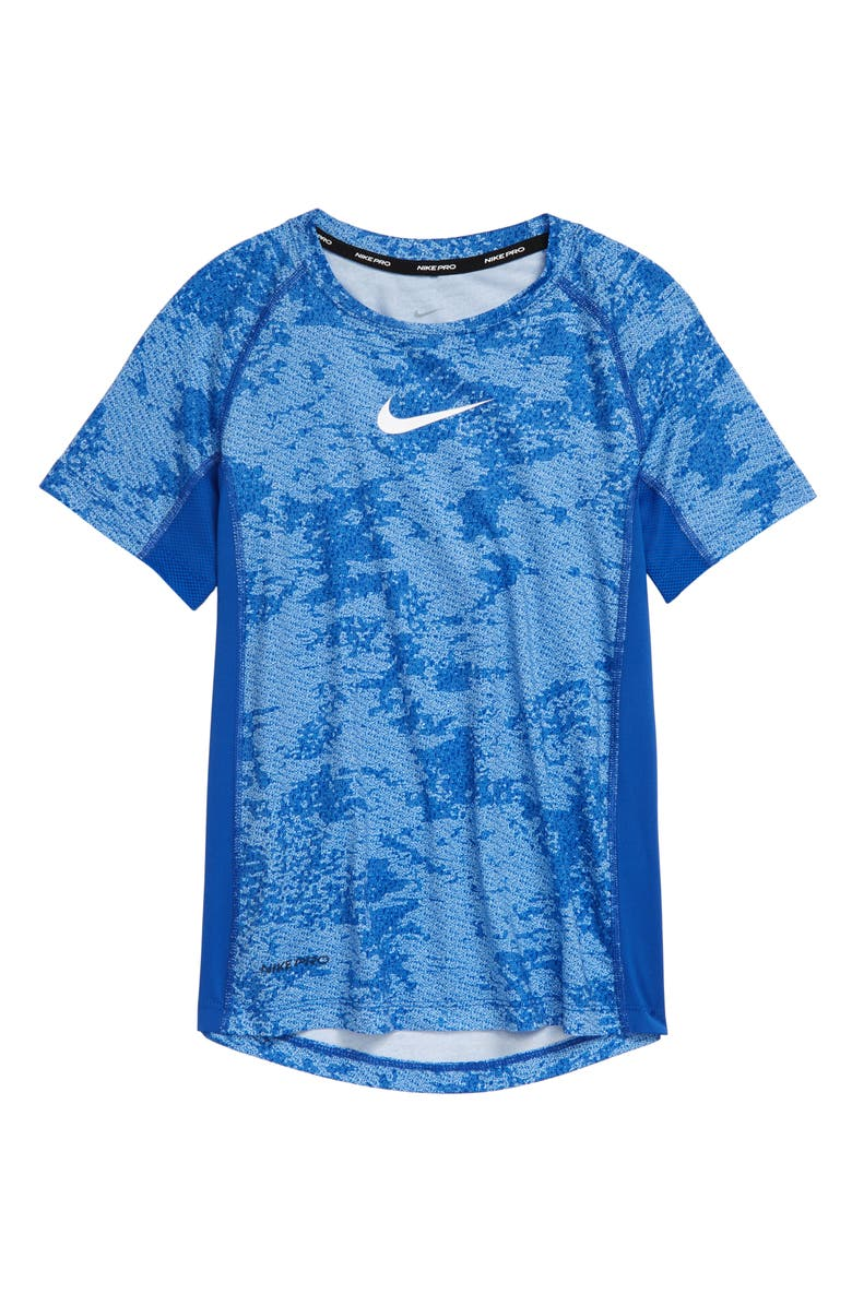 NIKE Kids' Dri-FIT Training T-Shirt, Main, color, GAME ROYAL/ WHITE