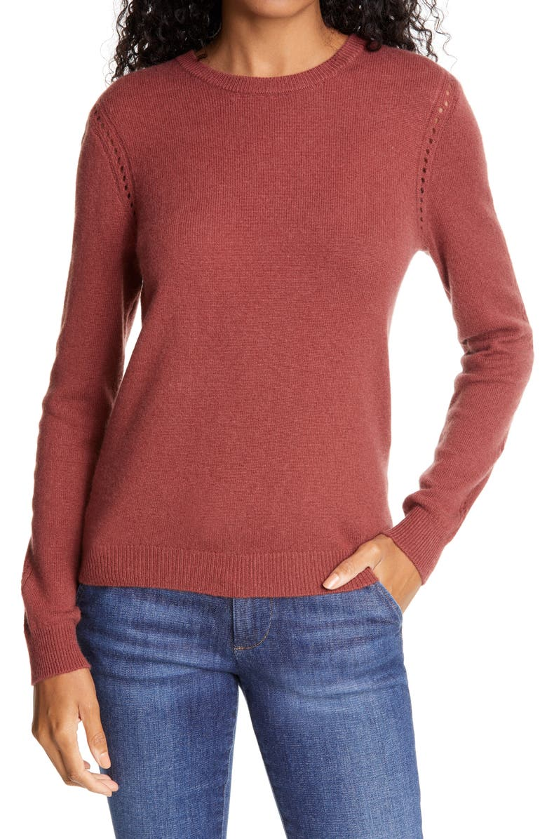 FRAME Pointelle Detail Wool & Cashmere Sweater, Main, color, SABLE