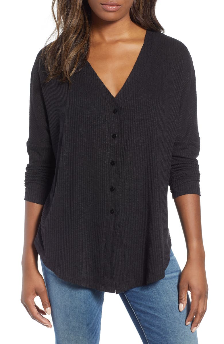 CASLON<SUP>®</SUP> Button Front Ribbed Knit Top, Main, color, 002