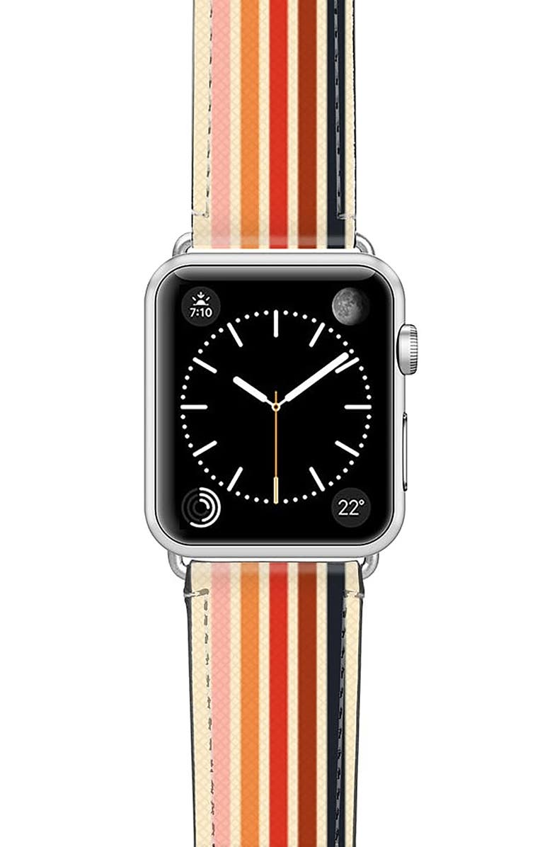 CASETIFY Retro Saffiano Faux Leather Apple Watch<sup>®</sup> Strap, Main, color, SILVER