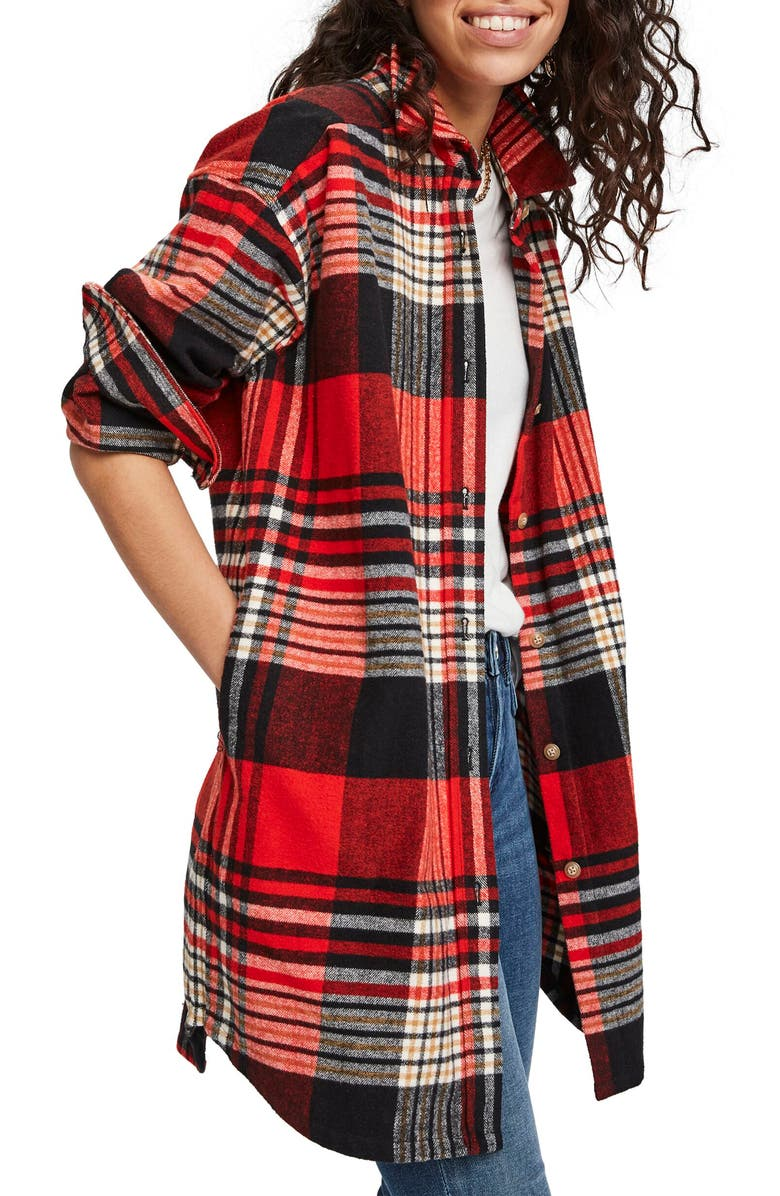 SCOTCH & SODA Plaid Oversize Brushed Cotton Flannel Shirt, Main, color, 610