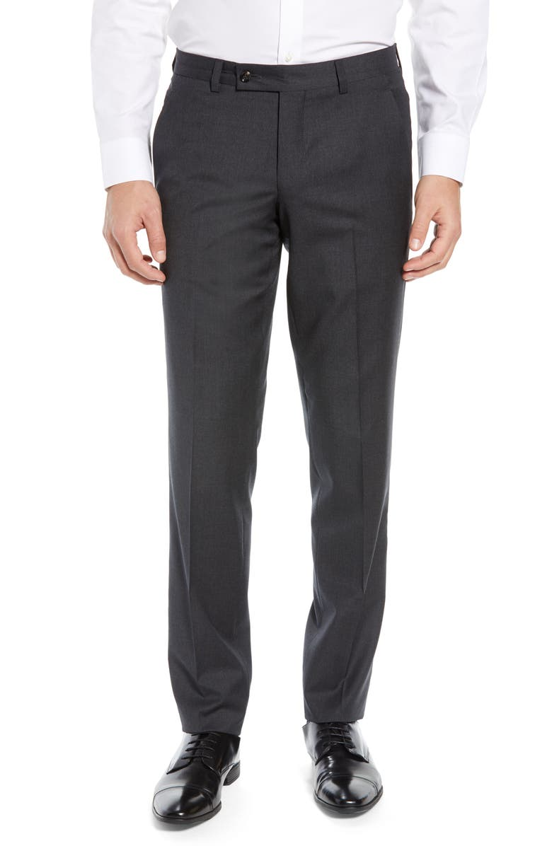 TED BAKER LONDON Jerome Flat Front Solid Wool Dress Pants, Main, color, 020