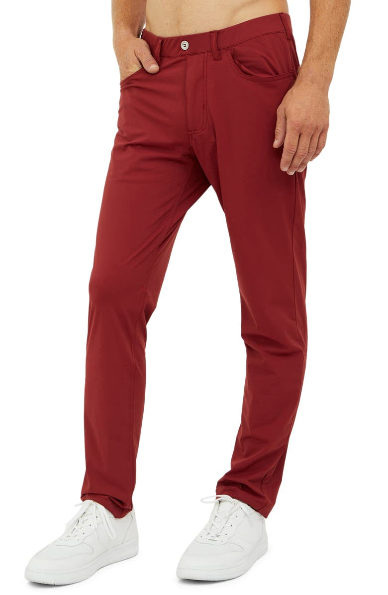 REDVANLY Kent Pull-On Golf Pants, Main, color, POMEGRANATE