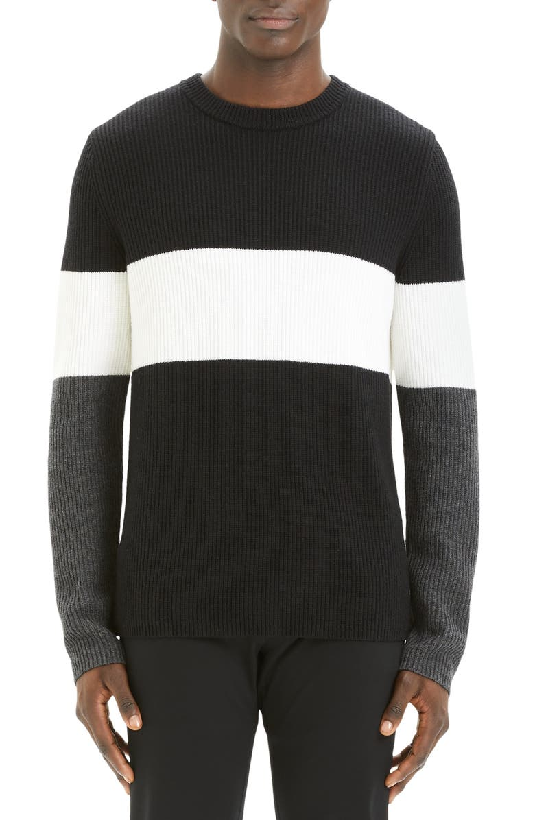 THEORY Zoren Regular Fit Colorblock Cashwool<sup>®</sup> Pullover, Main, color, 001
