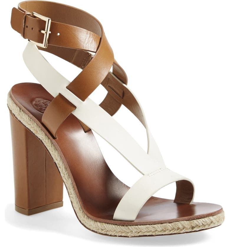 TORY BURCH 'Marbella' Ankle Strap Leather Sandal, Main, color, ROYAL TAN/ IVORY