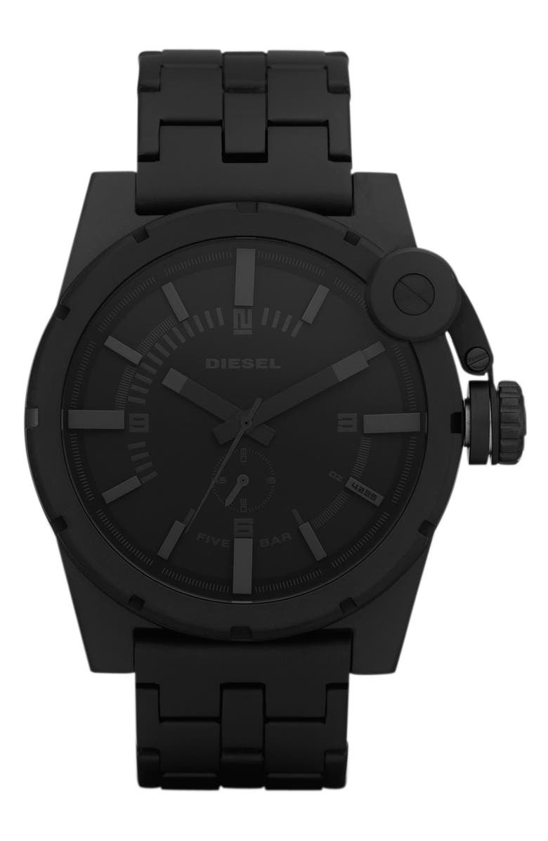 DIESEL<SUP>®</SUP> 'Advanced' Large Round Bracelet Watch, Main, color, 001