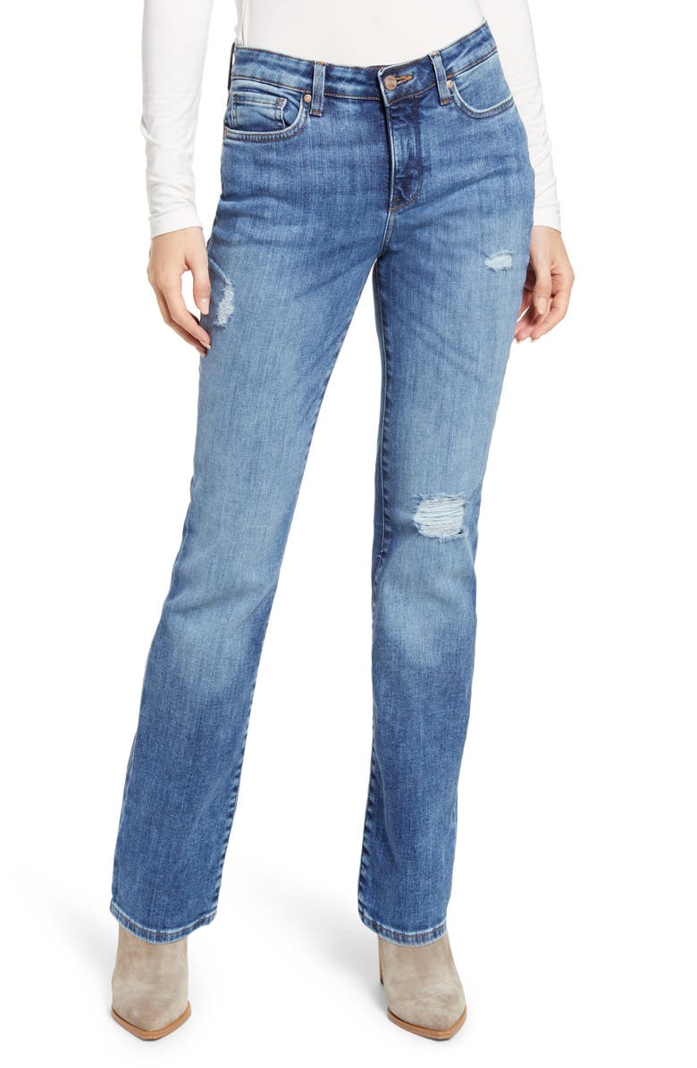 NYDJ Barbara Distressed Bootcut Jeans, Main, color, FORTUNE