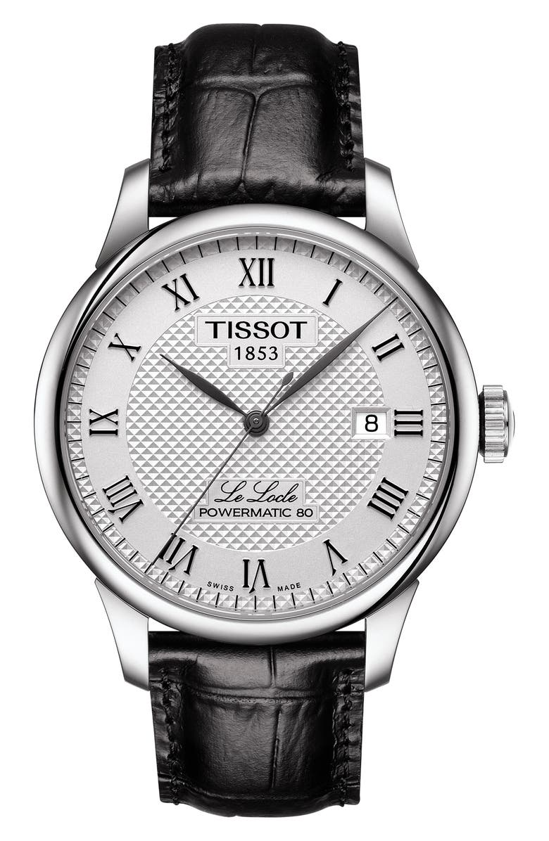 TISSOT Le Locle Powermatic 80 Automatic Leather Strap Watch, 39mm, Main, color, BLACK/ SILVER