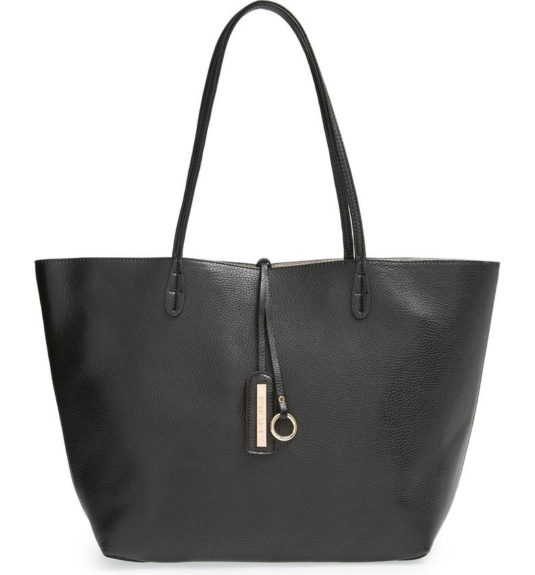 STREET LEVEL Reversible Faux Leather Tote, Main, color, 001