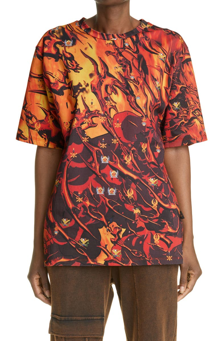 LIBERAL YOUTH MINISTRY Fire Print Graphic Tee, Main, color, FIRE PRINT / ORANGE - YELLOW
