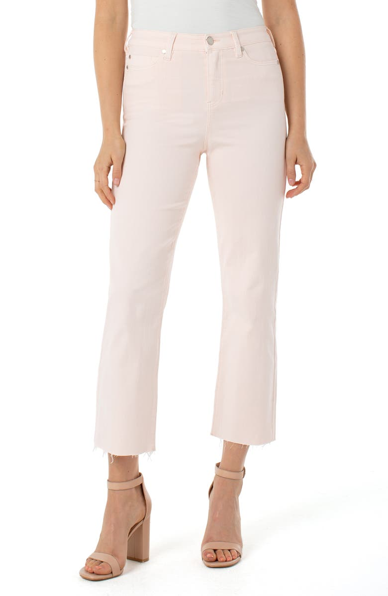 LIVERPOOL Stevie High Waist Raw Hem Stovepipe Jeans, Main, color, DAWN PINK