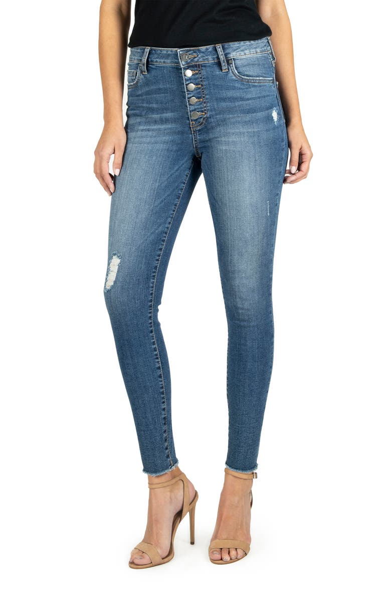 KUT FROM THE KLOTH Donna High Waist Ankle Skinny Jeans, Main, color, REINSTATE