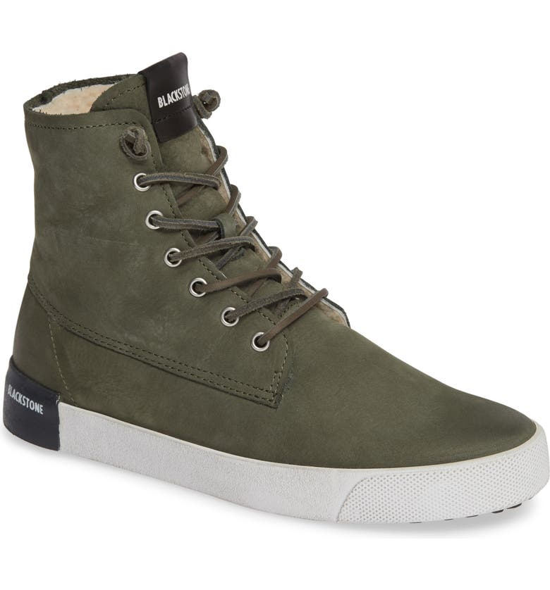 BLACKSTONE QL41 High Top Sneaker with Genuine Shearling Lining, Main, color, GREEN LEATHER