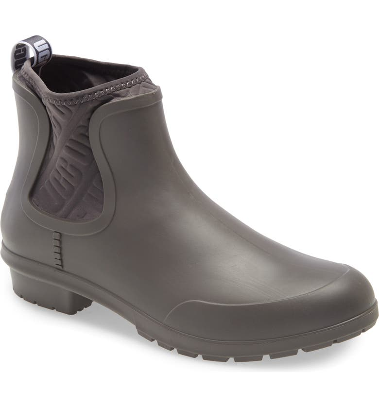 UGG<SUP>®</SUP> Chevonne Chelsea Waterproof Rain Boot, Main, color, CHARCOAL RUBBER