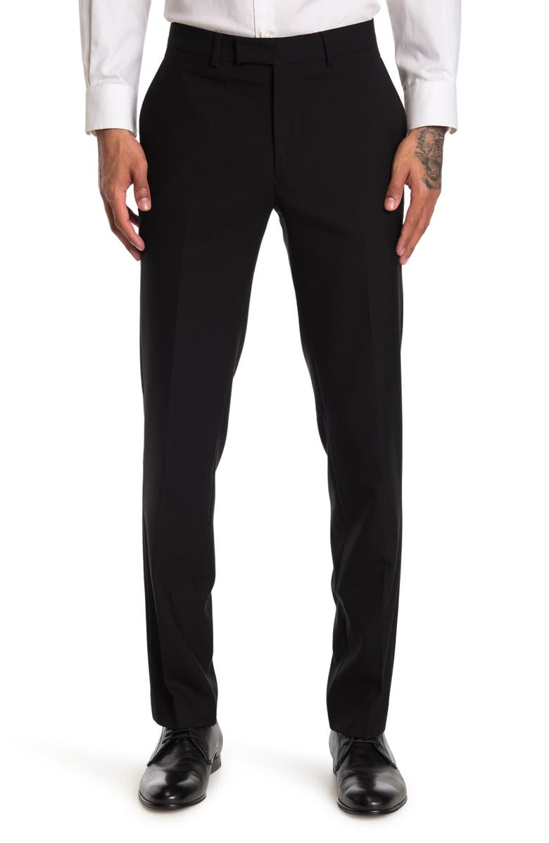 """KENNETH COLE NEW YORK Black Solid Performance Suit Separates Pants - 30-34"""" Inseam, Main, color, BLACK"""