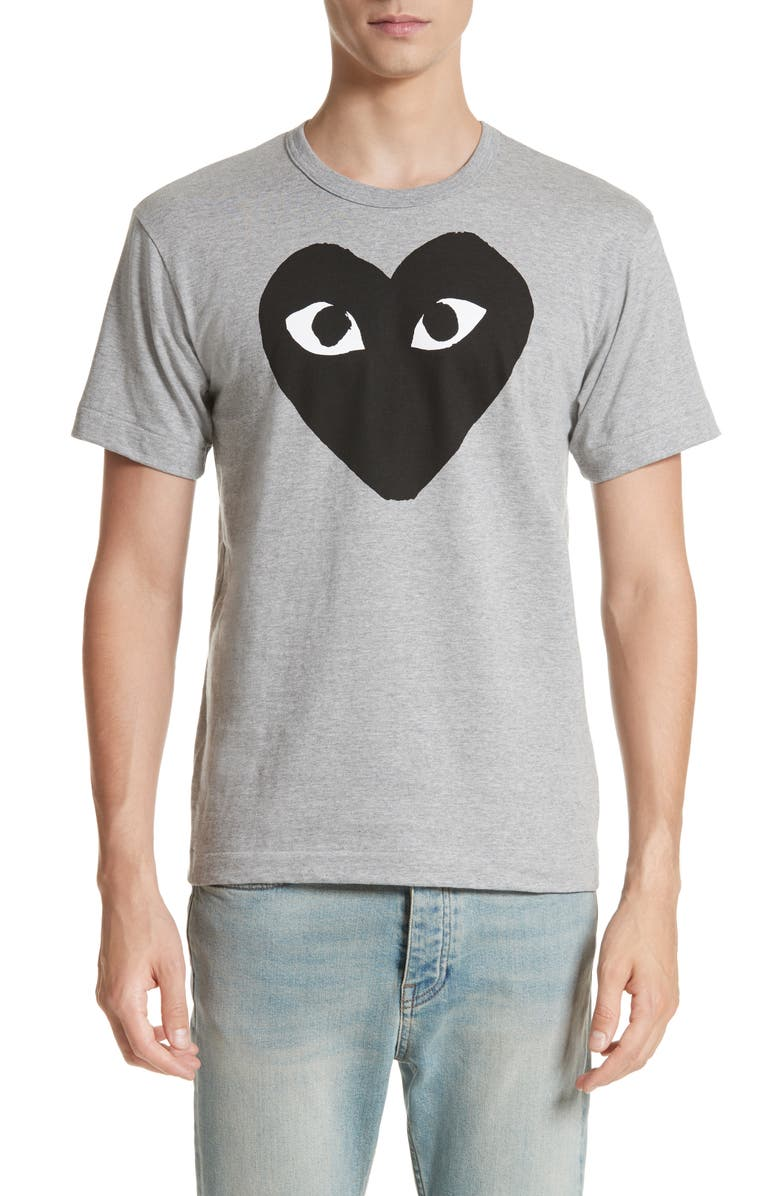 COMME DES GARÇONS PLAY Logo Graphic Tee, Main, color, TOP DYED GRAY