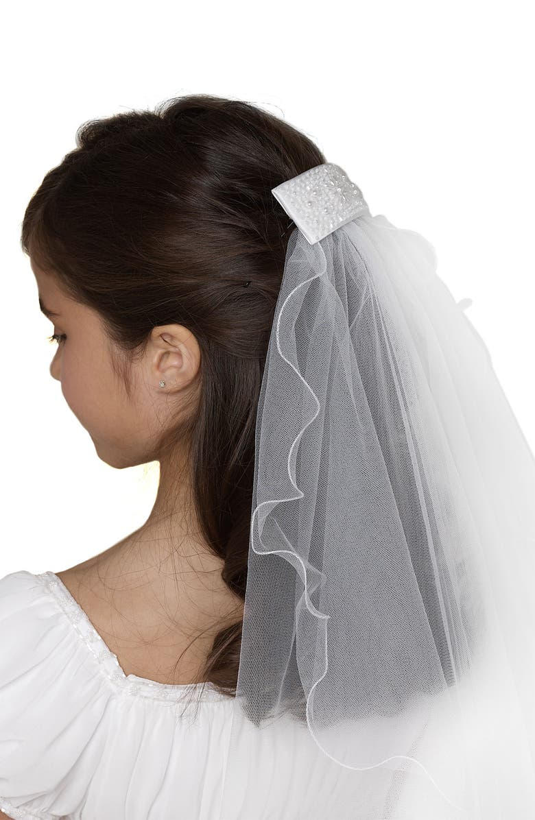 US ANGELS Beaded Hair Clip with Veil, Main, color, 100