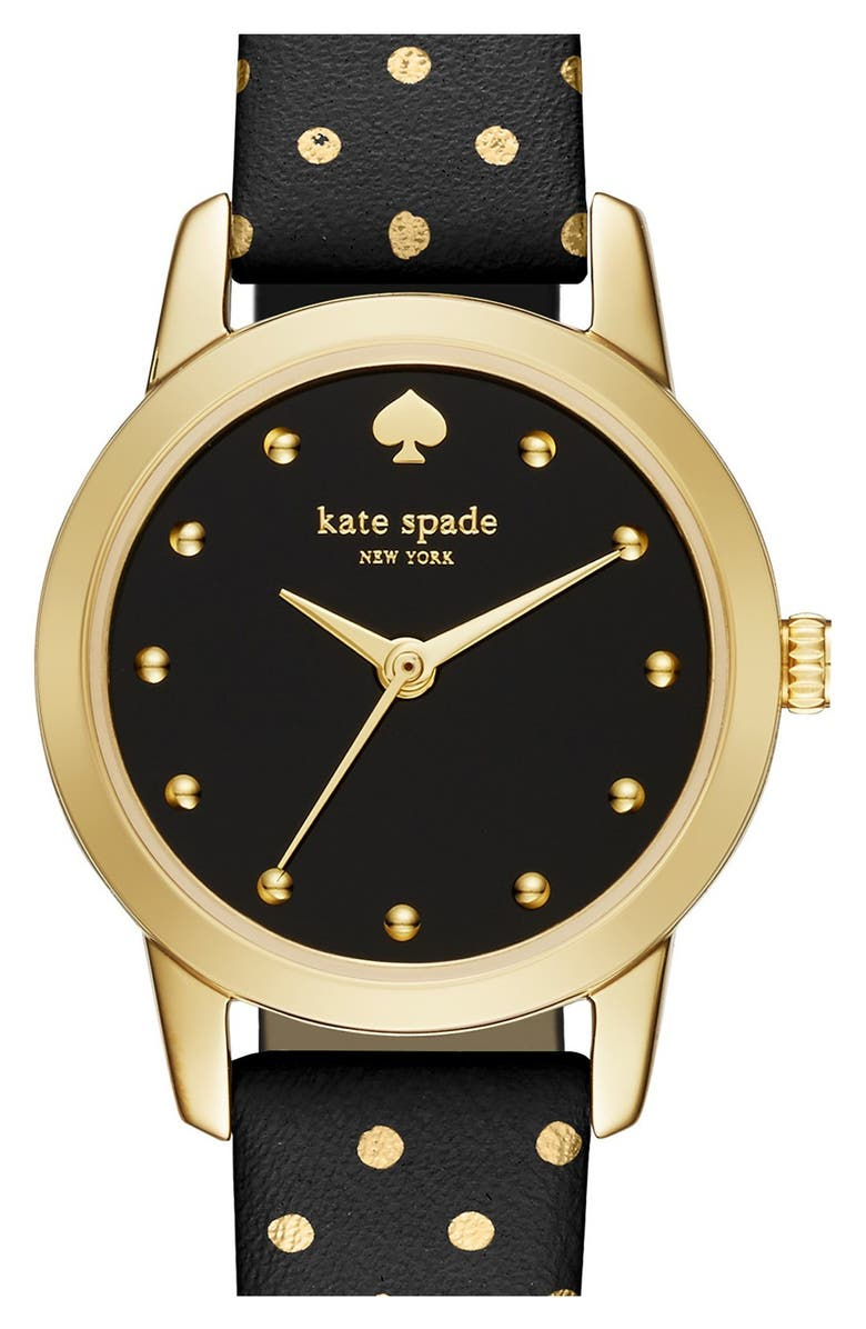 KATE SPADE NEW YORK 'mini metro' leather strap watch, 26mm, Main, color, 001