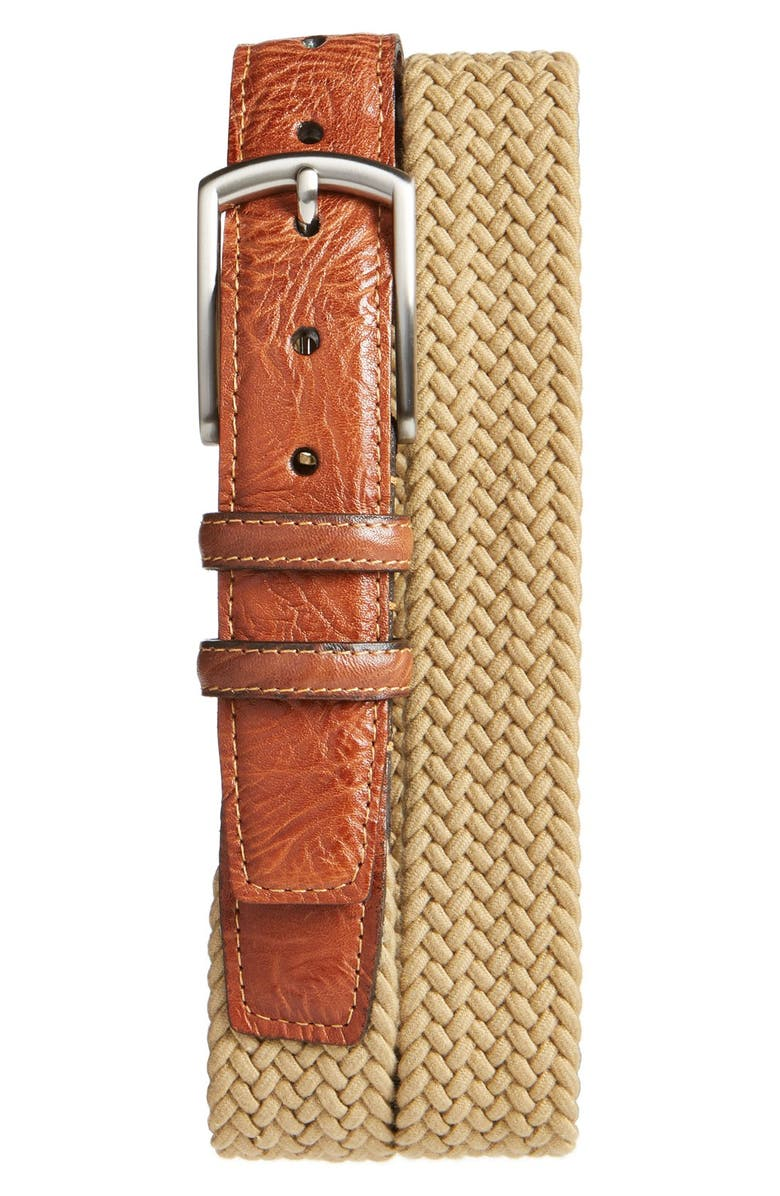 TORINO Braided Stretch Cotton Belt, Main, color, CAMEL
